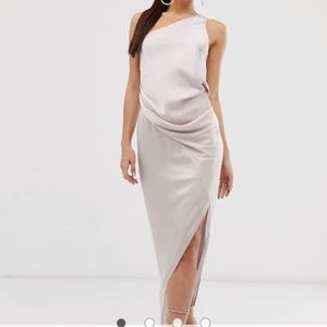 Tall one shoulder drape midi dress in satin oyster